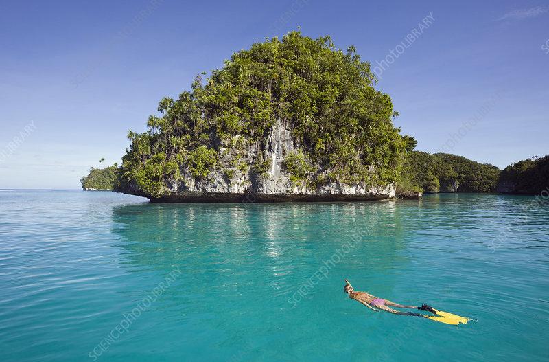 Snorkeling near a small island off Palau