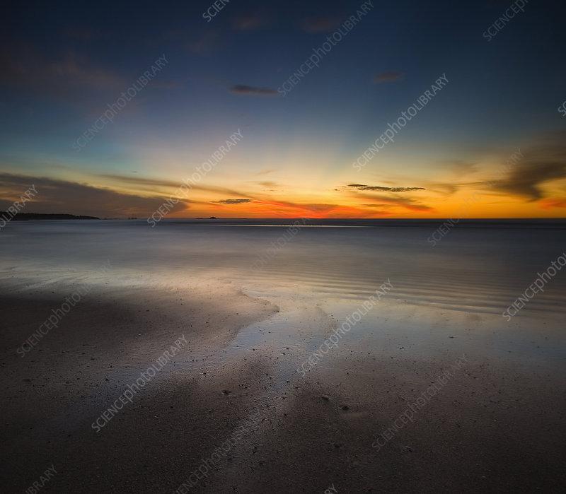 Sunset scene on a Costa Rica beach