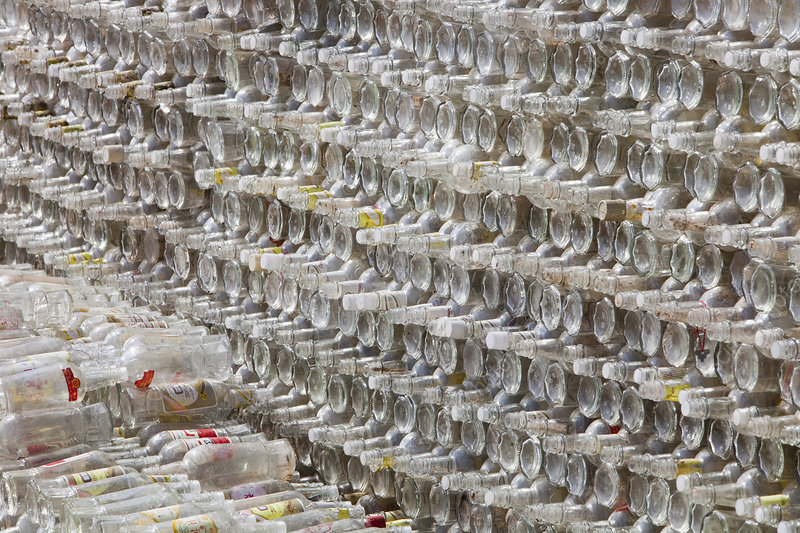 Stack of bottles for recycling, China