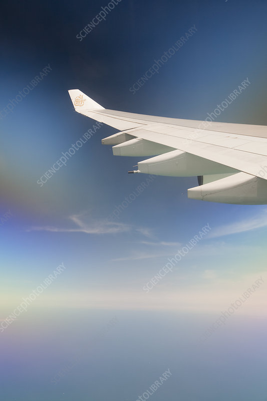 Wing tip of a plane flying
