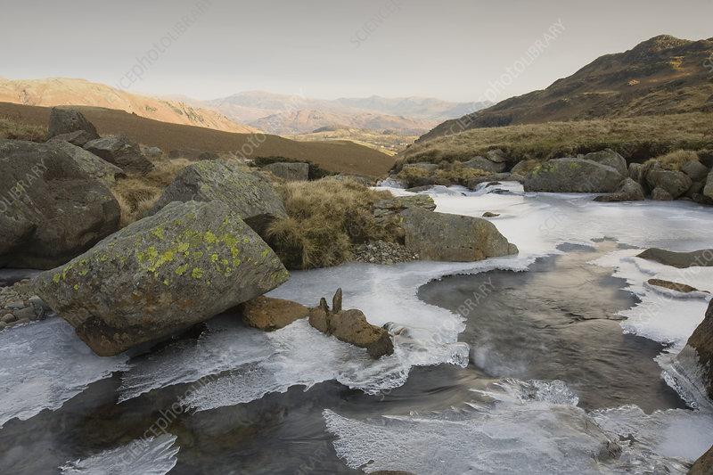 Ice on and around a stream