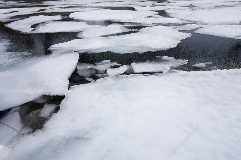 Ice melting in spring