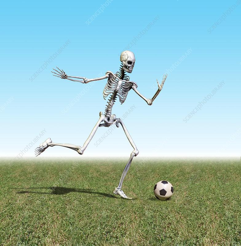 Skeleton playing soccer
