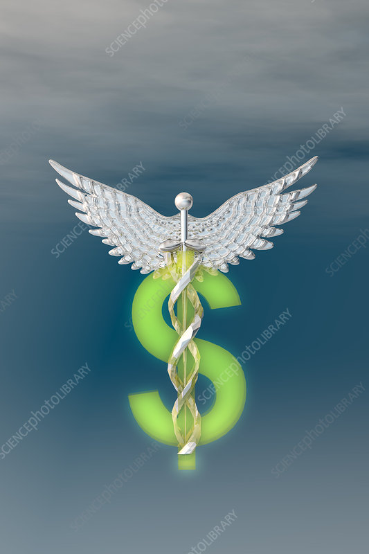 Caduceus entwined with a dollar sign