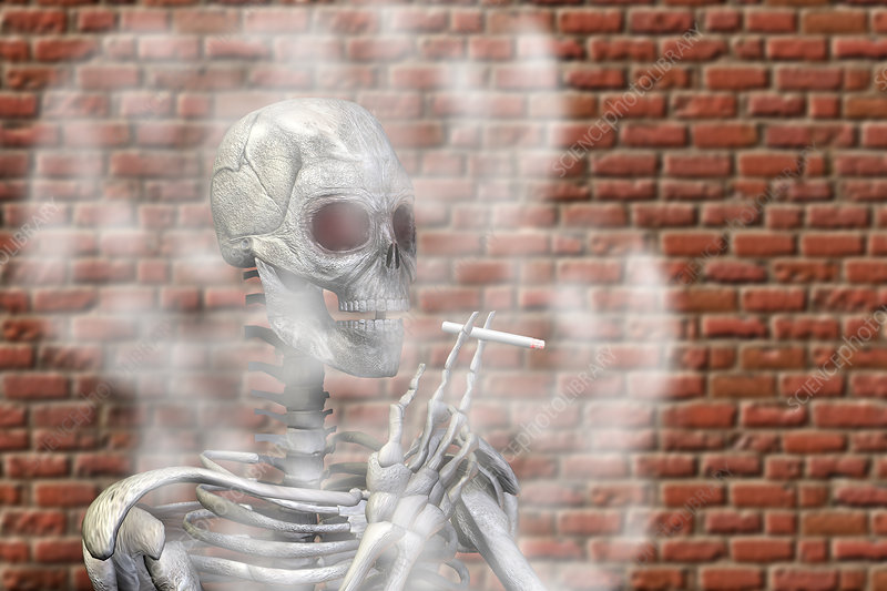 Skeleton smoking a cigarette