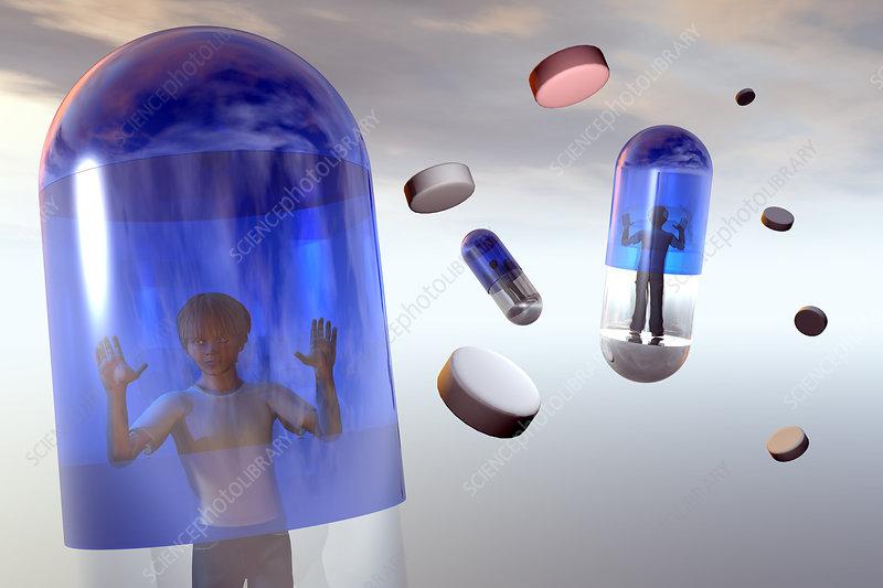 Medicated children, child in a capsule