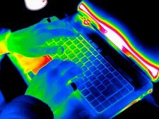Computer keyboard use, thermogram