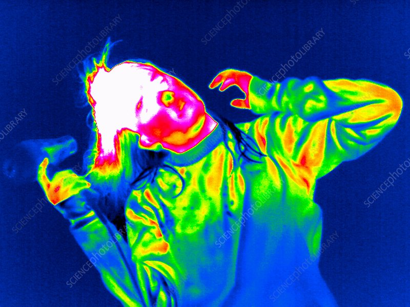 Using a hair dryer, thermogram