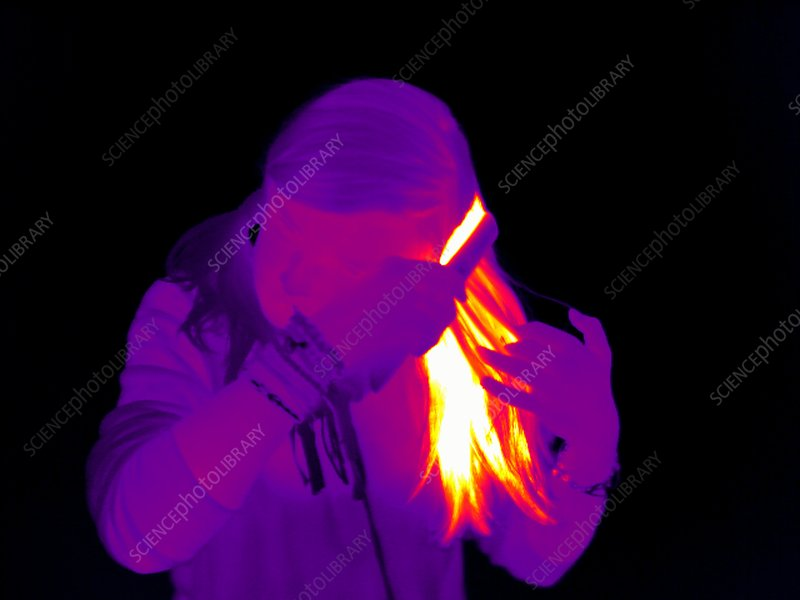 Using hair straighteners, thermogram