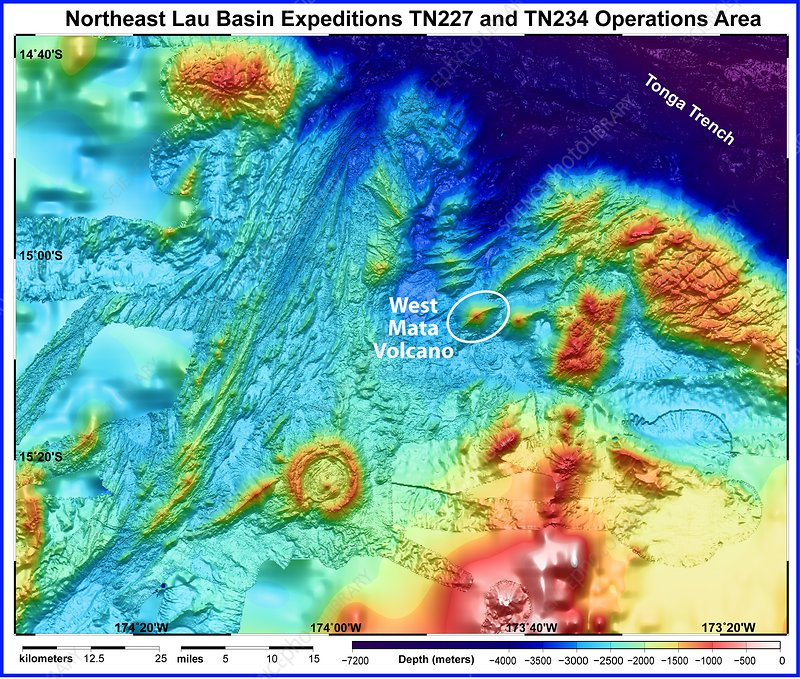 West Mata underwater volcano, bathymetry