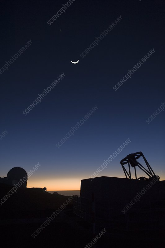 Telescopes at dusk, La Palma