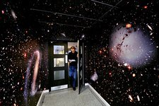 Hallway decorated with galaxies