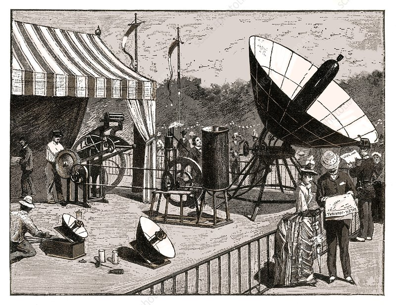 Solar water heater, 19th century artwork