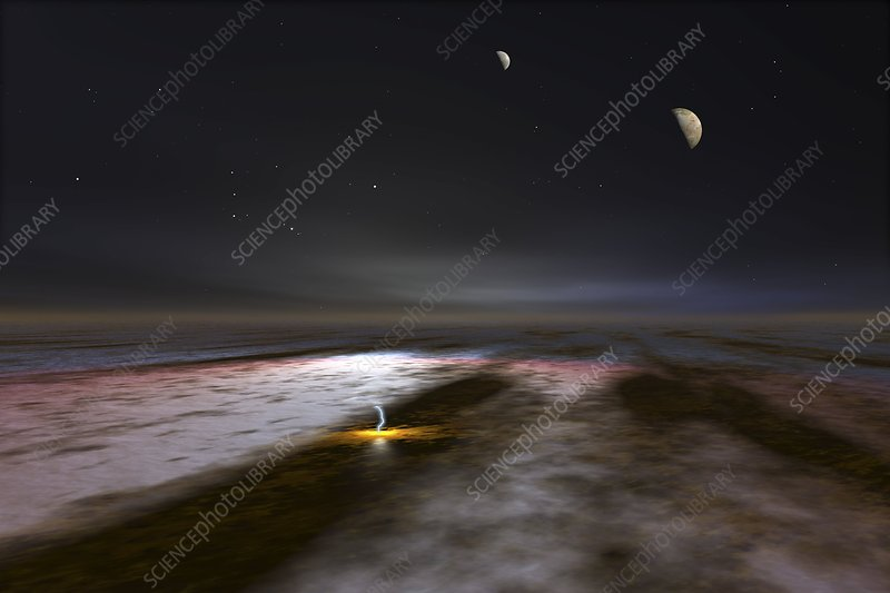 Jupiter and its moons, artwork