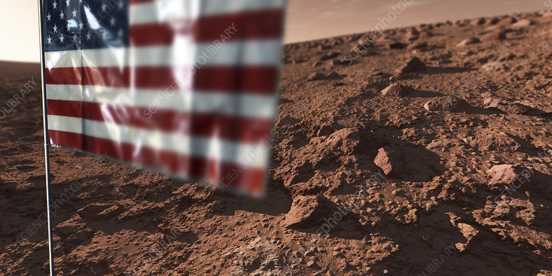 US flag on Mars, artwork