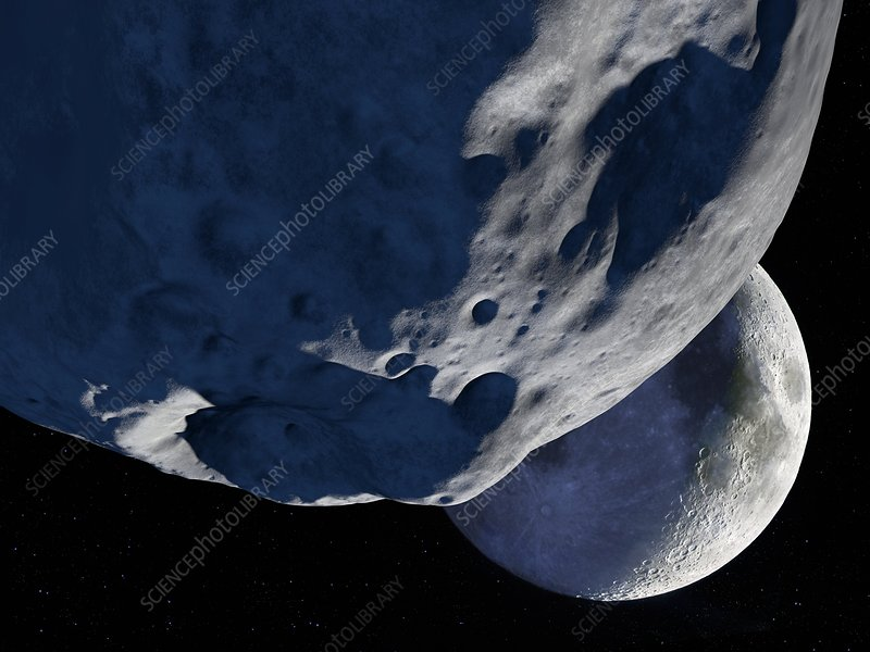 Asteroid approaching the Moon, artwork