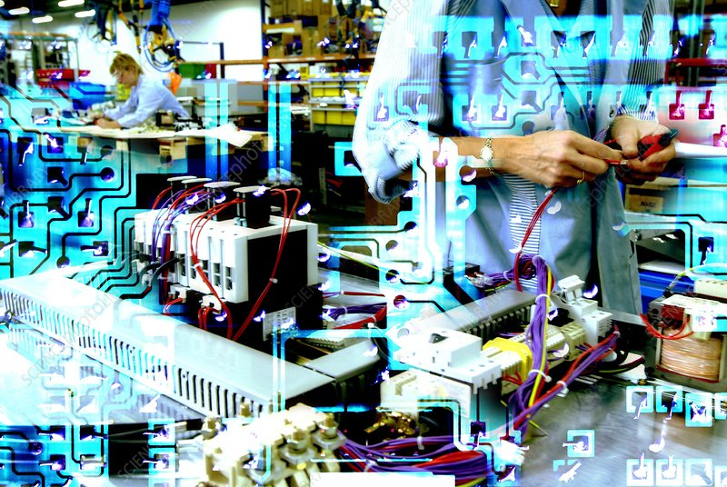 Electronics factory, composite image