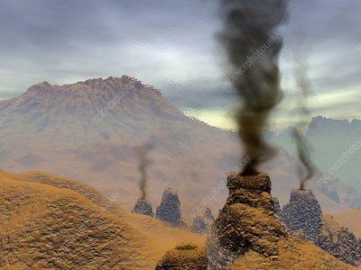 PLANETE I SATELITI C0068791-Volcanoes_on_Venus,_artwork-SPL
