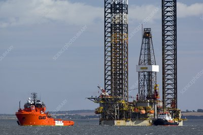 Jackup oil drilling rig, North Sea