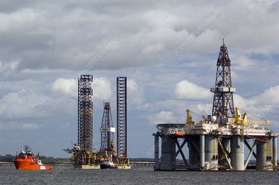 Oil drilling rigs, North Sea