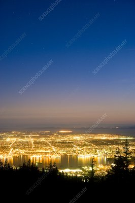 Vancouver at night, time-exposure image