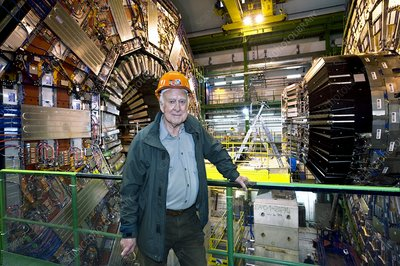 Peter Higgs at the CMS detector, CERN