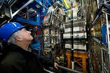 Peter Higgs at the ATLAS detector, CERN