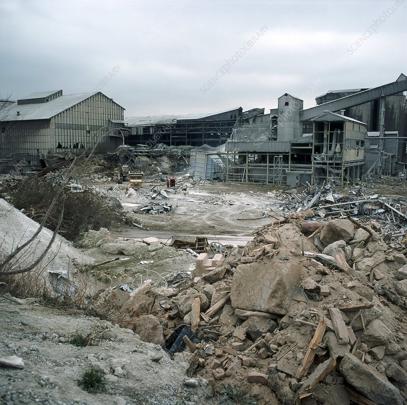 Demolition Of Science : Demolition of disused cement works stock image c