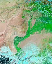 Indus River, Pakistan, satellite image