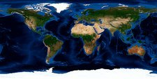 Earth, topographic and bathymetric map