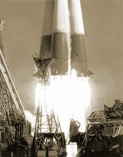 Launch of Vostok 1 spacecraft, 1961