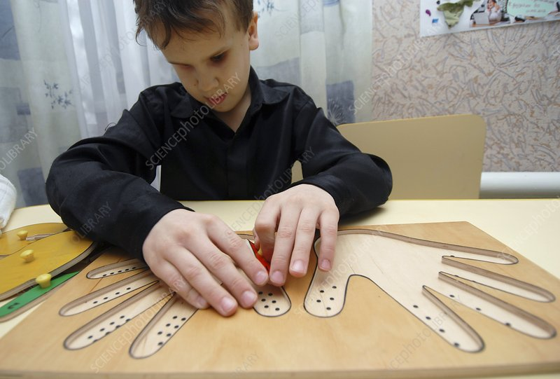 Blind child playing game