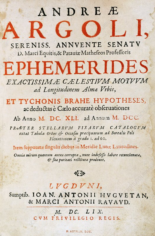 Title page of Argoli's Ephemerides, 1659