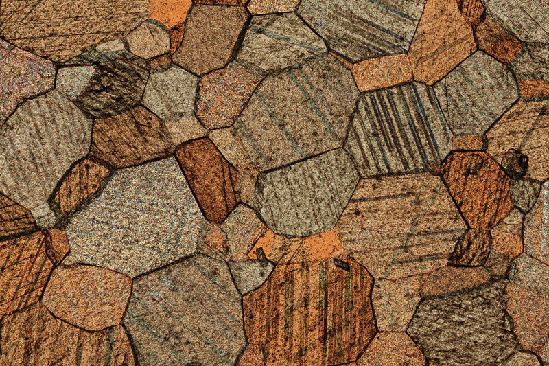 Marble, thin section, polarised LM