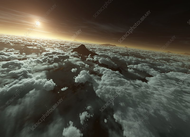 Mars with clouds, artwork