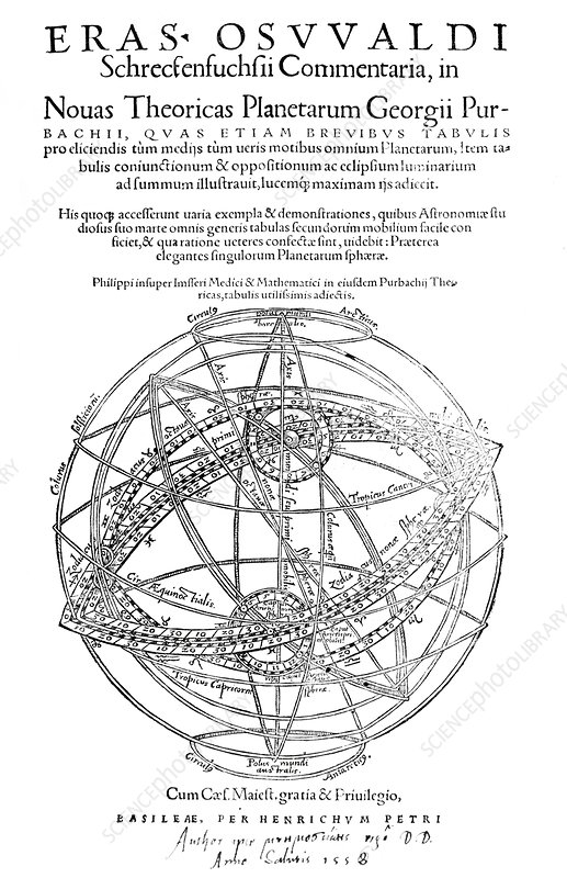 Peurbach's planetary theories, 1556