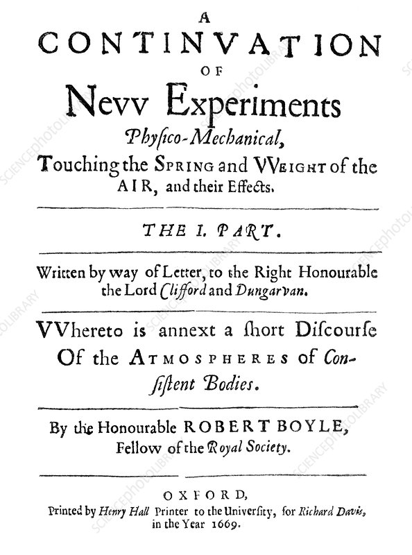 Boyle's New Experiments on Air, 1669