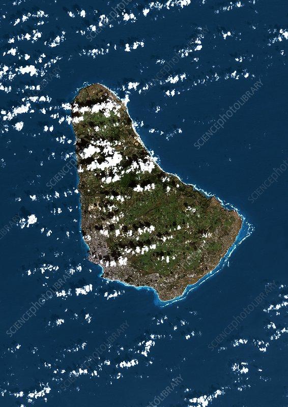 Barbados, Caribbean, satellite image - Stock Image - C007