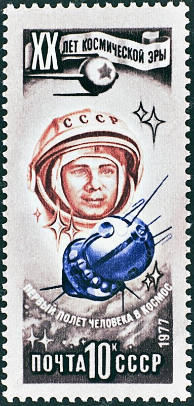 Stamp celebrating Gagarin flight