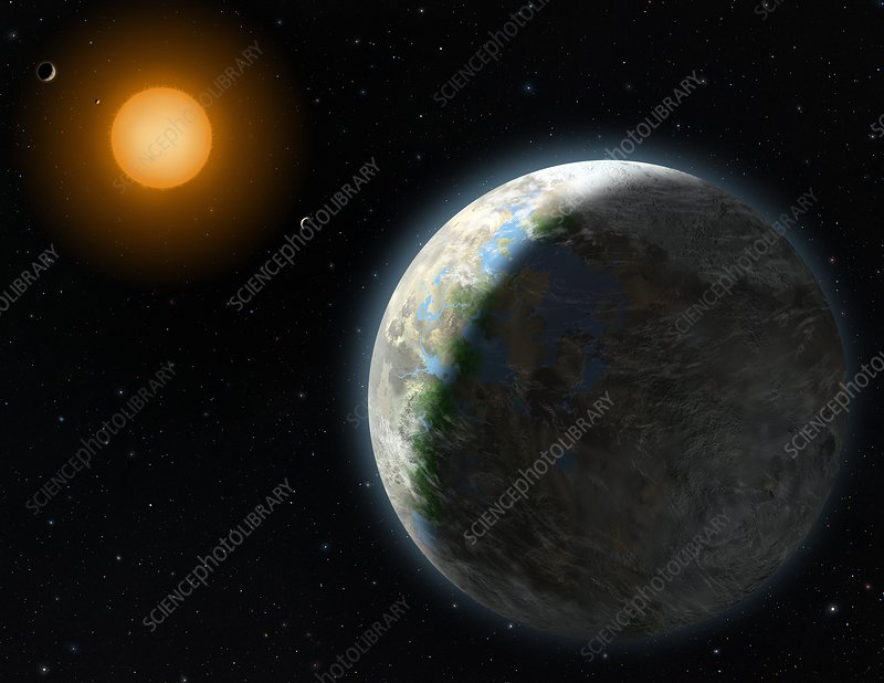 Gliese 581 g extrasolar planet, artwork - Stock Image C007 ...