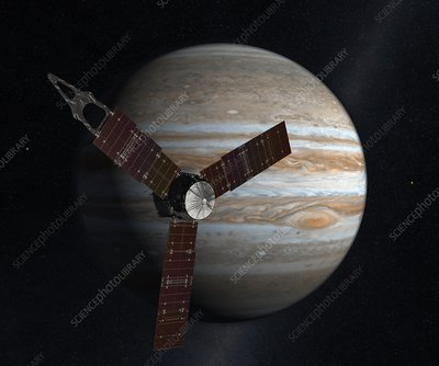 Juno spacecraft at Jupiter, artwork