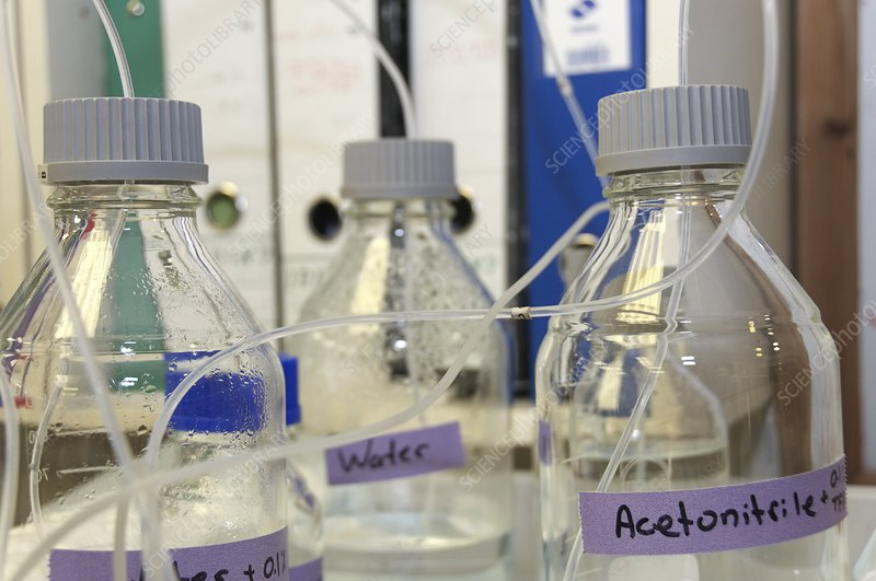 Chemical bottles in a laboratory