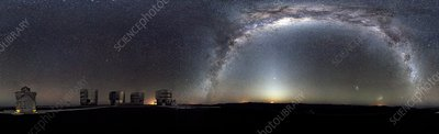 Milk Way over an astronomical observatory
