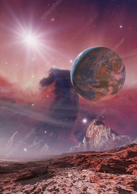Earthlike planet in Orion Nebula, artwork