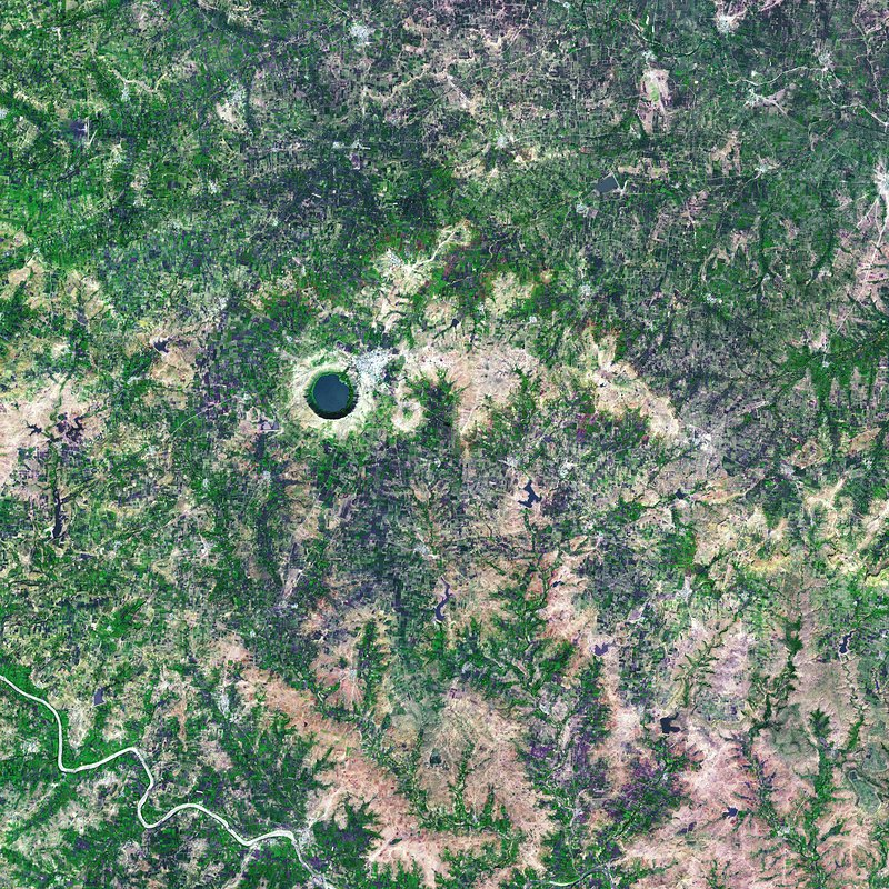 Lonar Crater lake, India, satellite image