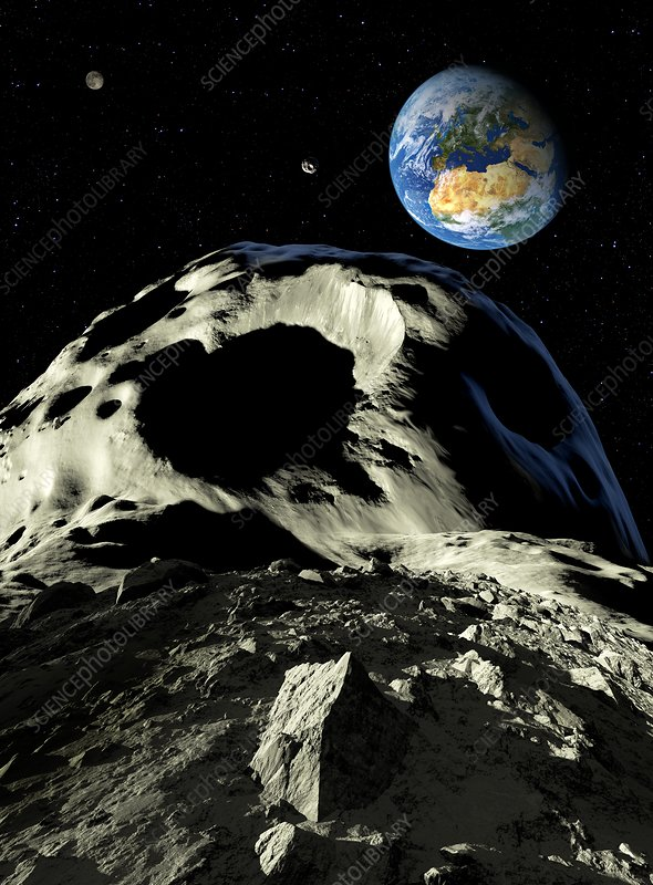 Asteroids approaching Earth, artwork