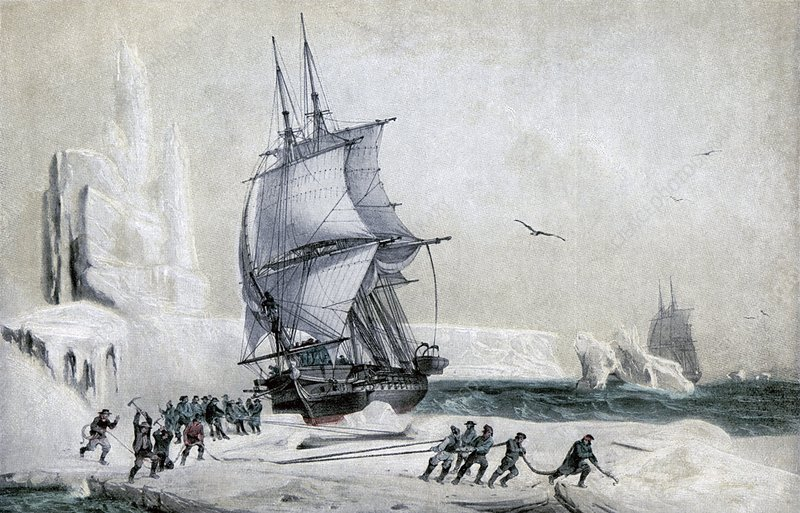 The Astrolabe stranded on pack ice