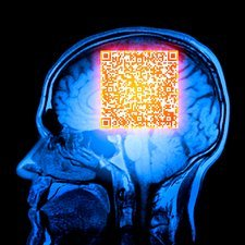 Brain MRI scan with Alzheimer's QR code