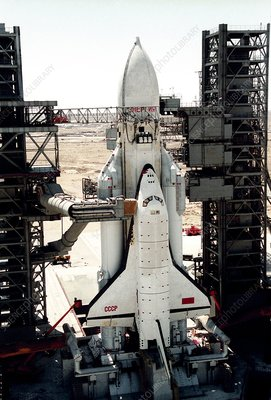 Russian Buran space shuttle on launchpad