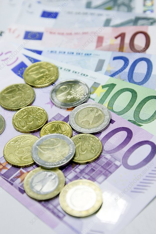 Euros in notes and coins